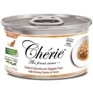 Купить Pettric Cherie Flaked Yellowfin Mix консервы с тунцом и креветками для кошек в дискаунтере товаров для животных Крокодильчик