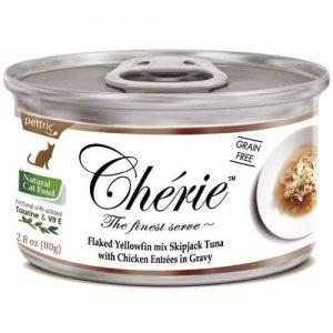 Купить консервы Pettric Cherie Flaked Yellowfin Mix с курицей для кошек в дискаунтере товаров для животных Крокодильчик