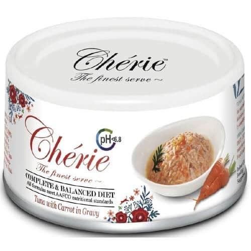 Купить Pettric Cherie Complete Balanced Diet консервы с тунцом и кусочками моркови в соусе для кошек в дискаунтере товаров для животных Крокодильчик