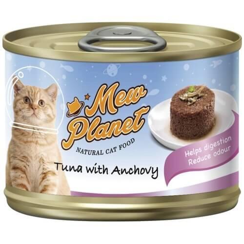 Купить Консервы Pettric Mew Planet паштет из свежего тунца и анчоуса для кошек в дискаунтере товаров для животных Крокодильчик