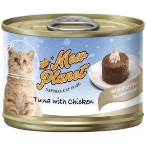Купить консервы Pettric Mew Planet паштет из свежего тунца и ширасу для кошек в дискаунтере товаров для животных Крокодильчик