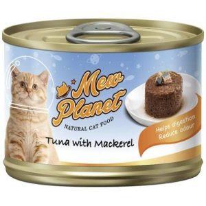 Купить консервы Pettric Mew Planet паштет из свежего тунца и скумбрии для кошек в дискаунтере товаров для животных Крокодильчик