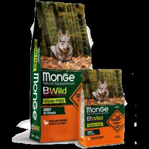 Monge Dog BWild GRAIN FREE Puppy&Junior беззерновой корм из мяса утки с картофелем купить в дискаунтере товаров для животных Крокодильчик в Москве