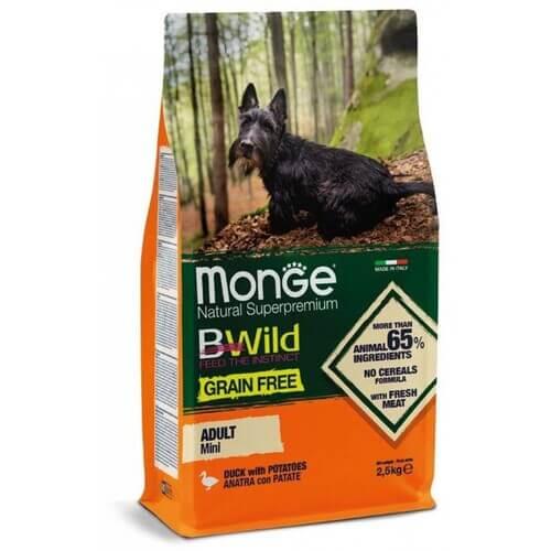 Monge Dog BWild GRAIN FREE Mini корм из мяса утки с картофелем для взрослых собак мелких пород купить в дискаунтере товаров для животных Крокодильчик в Москве
