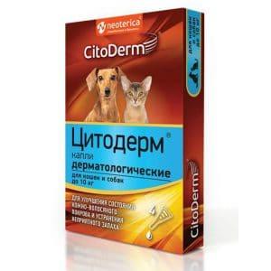CitoDerm Капли дерматологические для кошек и собак, до 10 кг купить в дискаунтере товаров для животных Крокодильчик