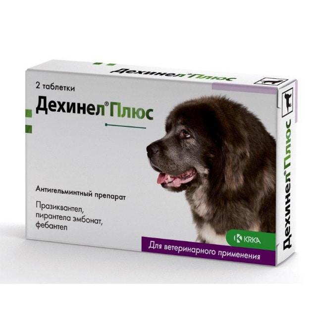 Дехинел Плюс антигельминтик таблетки для собак крупных пород, 2 шт. купить в дискаунтере товаров для животных Крокодильчик