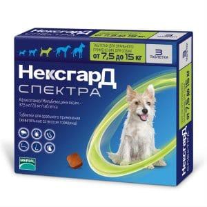 НексгарД Спектра M таблетки жевательные для собак 7,5-15 кг купить в дискаунтере товаров для животных Крокодильчик