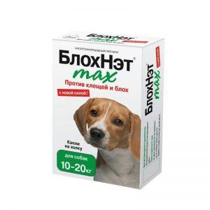 БлохНэт max капли на холку для собак 10-20 кг, 4 мл пипетка купить в дискаунтере товаров для животных Крокодильчик
