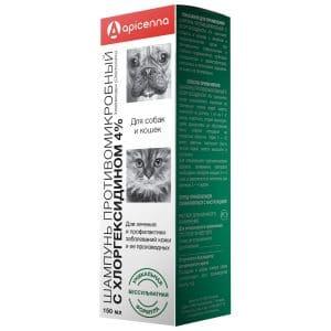 Apicenna Шампунь противомикробный с хлоргексидином 4% для собак и кошек, 150 мл купить в дискаунтере товаров для животных Крокодильчик