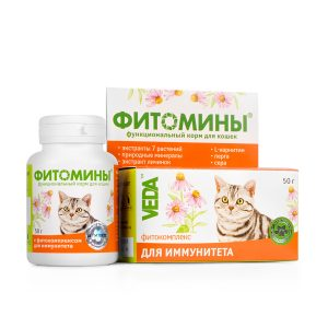 Фитомины корм с фитокомплексом для иммунитета кошек, 50 г купить в дискаунтере товаров для животных Крокодильчик