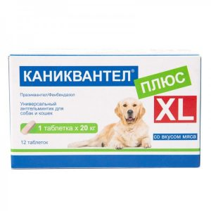 Каниквантел плюс XL антигельминтик для собак и кошек, 12 таб. купить в дискаунтере товаров для животных Крокодильчик