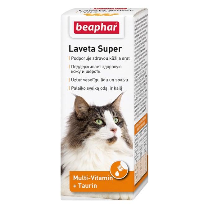 Beaphar Laveta Super витамины для поддержания здоровой кожи и шерсти у кошек, 50 мл купить в дискаунтере товаров для животных Крокодильчик