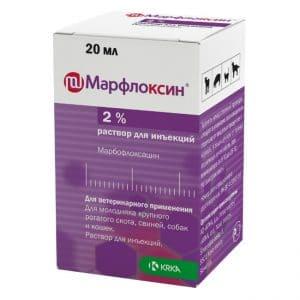 Марфлоксин раствор для инъекций 2%, флакон 20 мл купить в дискаунтере товаров для животных Крокодильчик