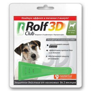 Rolf Club 3D капли для собак, 4-10 кг, 1 пипетка купить в дискаунтере товаров для животных Крокодильчик