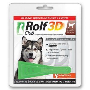 Rolf Club 3D капли для собак, 20-40 кг, 1 пипетка купить в дискаунтере товаров для животных Крокодильчик