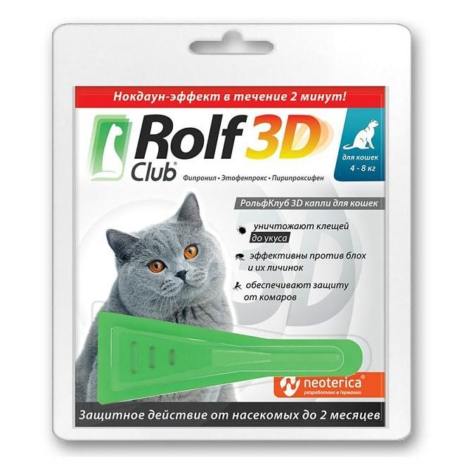 Rolf Club 3D Капли для кошек, более 4 кг, 1 пипетка купить в дискаунтере товаров для животных Крокодильчик