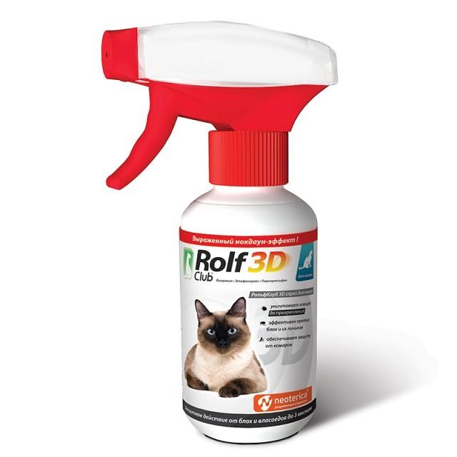 Rolf Club 3D Спрей от клещей и блох для кошек, 200 мл купить в дискаунтере товаров для животных Крокодильчик