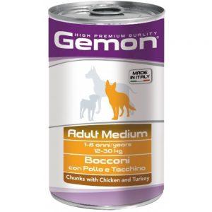 Monge Gemon Dog Medium консервы для собак средних пород с кусочками курицы и индейкой, 1250 г купить в дискаунтере товаров для животных Крокодильчик