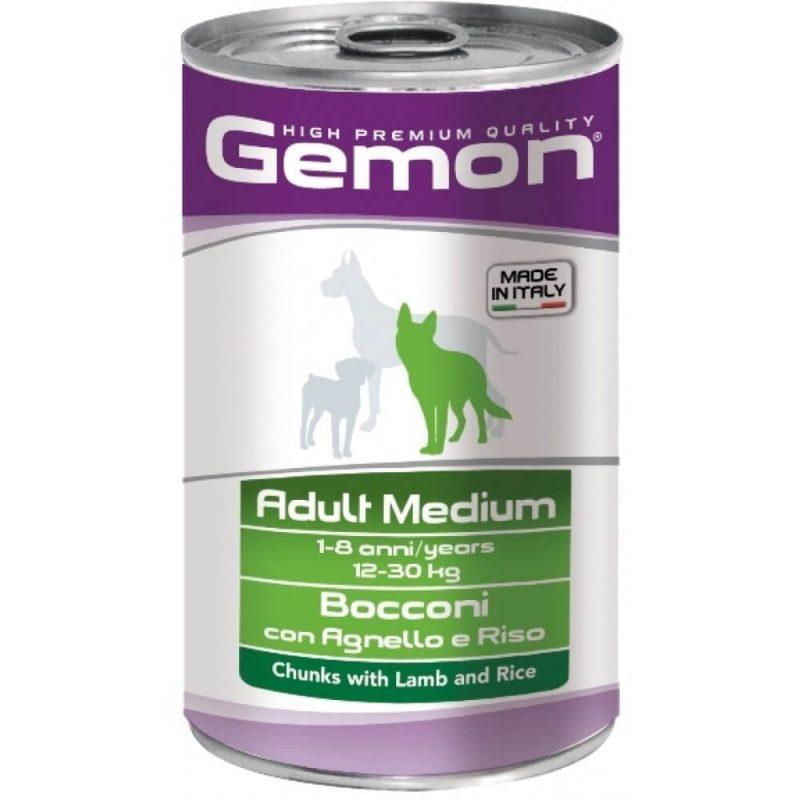 Monge Gemon Dog Medium консервы для собак средних пород с кусочками ягненка и рисом, 1250 г купить в дискаунтере товаров для животных Крокодильчик