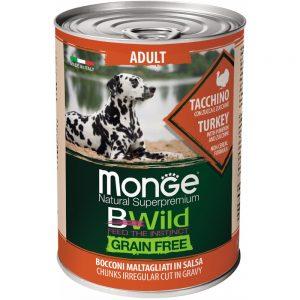 Monge Dog BWild GRAIN FREE - Беззерновые консервы из индейки с тыквой и кабачками для взрослых собак всех пород, 400 г купить в дискаунтере товаров для животных Крокодильчик