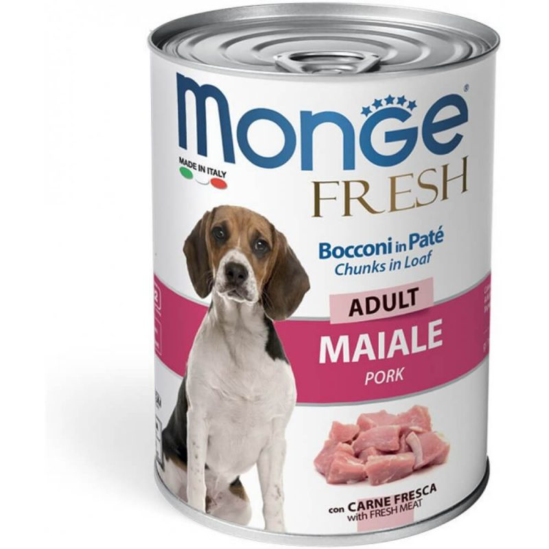 Monge Dog Fresh Chunks in Loaf консервы для собак с мясным рулетом из свинины купить в дискаунтере товаров для животных Крокодильчик