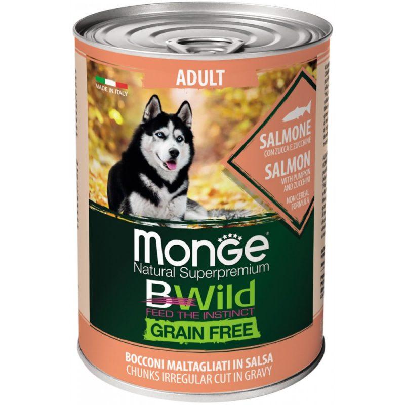 Monge Dog BWild GRAIN FREE - Беззерновые консервы из лосося с тыквой и кабачками для взрослых собак всех пород, 400 г купить в дискаунтере товаров для животных Крокодильчик