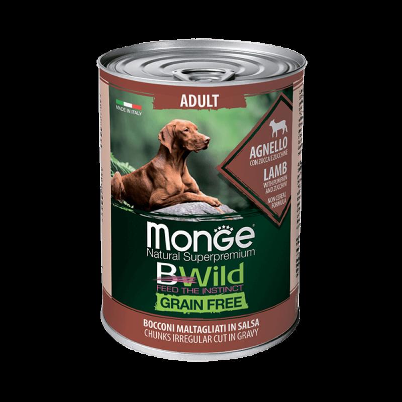 Monge Dog BWild GRAIN FREE - Беззерновые консервы из ягненка с тыквой и кабачками для взрослых собак всех пород, 400 г купить в дискаунтере товаров для животных Крокодильчик