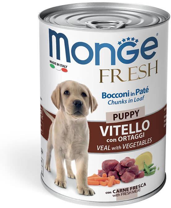 Monge Dog Fresh Chunks in Loaf консервы для щенков с мясным рулетом из телятины с овощами купить в дискаунтере товаров для животных Крокодильчик