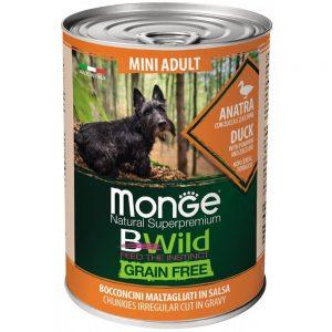 Monge Dog BWild GRAIN FREE Mini - Беззерновые консервы из утки с тыквой и кабачками для взрослых собак мелких пород, 400 г купить в дискаунтере товаров для животных Крокодильчик