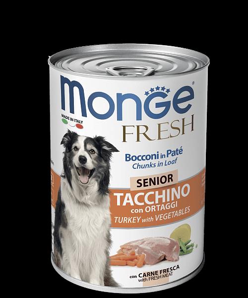 Monge Dog Fresh Chunks in Loaf консервы для пожилых собак с мясным рулетом из индейки с овощами купить в дискаунтере товаров для животных Крокодильчик