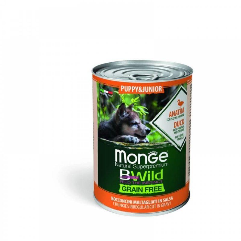 Monge Dog BWild GRAIN FREE Puppy&Junior - Беззерновые консервы из утки с тыквой и кабачками для щенков всех пород, 400 г купить в дискаунтере товаров для животных Крокодильчик