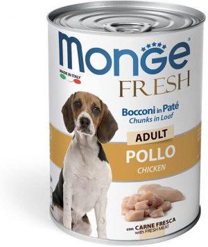 Monge Dog Fresh Chunks in Loaf - Консервы для собак с мясным рулетом из курицы купить в дискаунтере товаров для животных Крокодильчик
