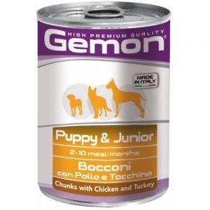 Monge Gemon Dog паштет для щенков с кусочками курицы и индейкой, 415 г. купить в дискаунтере товаров для животных Крокодильчик