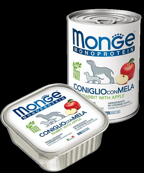 Monge Dog Monoprotein Solo консервы для собак паштет из кролика с яблоками купить в дискаунтере товаров для животных Крокодильчик