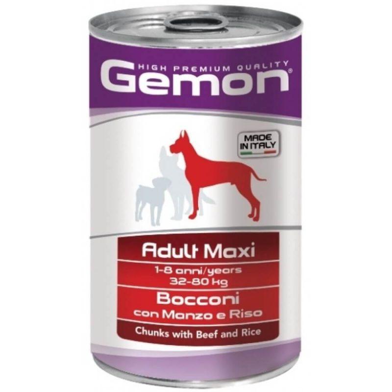 Monge Gemon Dog Maxi консервы для собак крупных пород с кусочками говядины и рисом, 1250 г купить в дискаунтере товаров для животных Крокодильчик