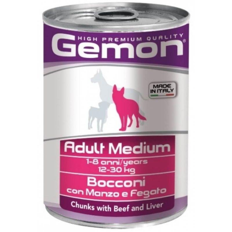 Monge Gemon Dog Medium консервы для собак средних пород с кусочками говядины и печенью, 450 г купить в дискаунтере товаров для животных Крокодильчик