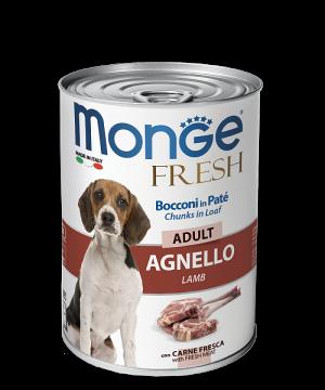 Monge Dog Fresh Chunks in Loaf консервы для собак с мясным рулетом из ягненка купить в дискаунтере товаров для животных Крокодильчик