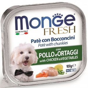 Monge Dog Fresh консервы для собак курица с овощами, 100 г. купить в дискаунтере товаров для животных Крокодильчик