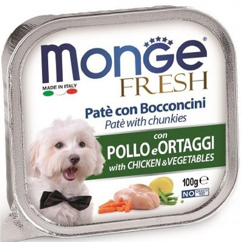 Monge Dog Fresh консервы для собак курица с овощами, 100 г. купить в дискаунтере товаров для животных Крокодильчик