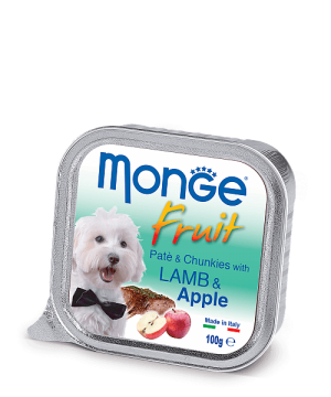 Monge Dog Fruit Pate & Chunkies паштет из ягненка с яблоком, 100 г. купить в дискаунтере товаров для животных Крокодильчик