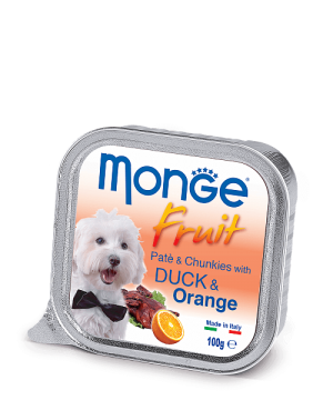 Monge Dog Fruit Pate & Chunkies паштет из утки с апельсином, 100 г. купить в дискаунтере товаров для животных Крокодильчик