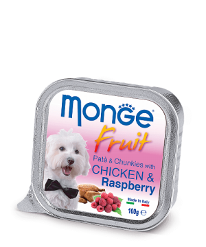 Monge Dog Fruit Pate & Chunkies паштет из курицы с малиной, 100 г. купить в дискаунтере товаров для животных Крокодильчик