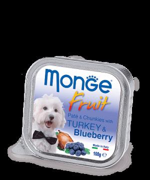 Monge Dog Fruit Pate & Chunkies паштет из индейки с черникой, 100 г. купить в дискаунтере товаров для животных Крокодильчик