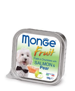 Monge Dog Fruit Pate & Chunkies паштет с лососем и кусочками груши, 100 г. купить в дискаунтере товаров для животных Крокодильчик