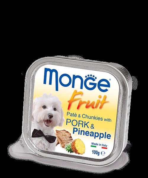 Monge Dog Fruit Pate & Chunkies паштет со свининой и кусочками ананаса, 100 г. купить в дискаунтере товаров для животных Крокодильчик