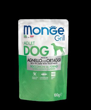 Monge Dog Grill Pouch - Паучи для собак с ягненком и овощами купить в дискаунтере товаров для животных Крокодильчик
