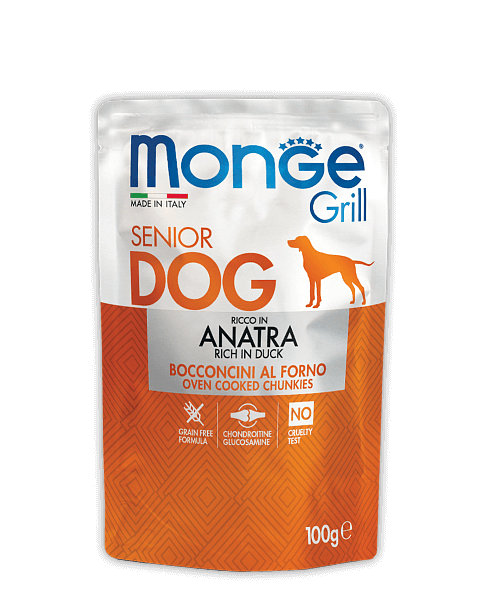 Monge Dog Grill Pouch - Паучи для пожилых собак с уткой купить в дискаунтере товаров для животных Крокодильчик