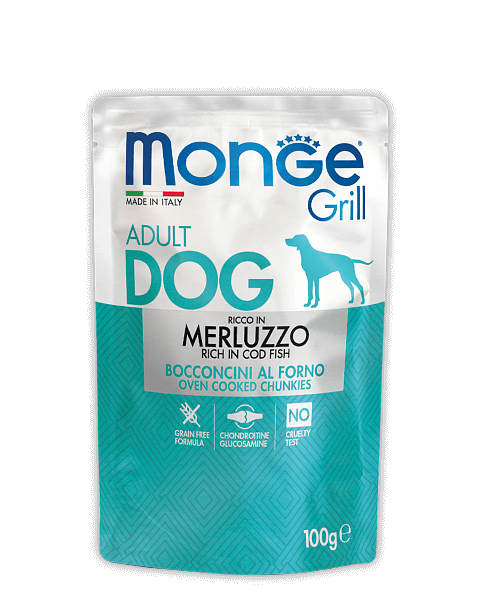 Monge Dog Grill Pouch - Паучи для собак с треской купить в дискаунтере товаров для животных Крокодильчик