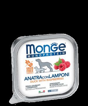 Monge Dog Monoprotein Solo консервы для собак паштет из утки с малиной купить в дискаунтере товаров для животных Крокодильчик