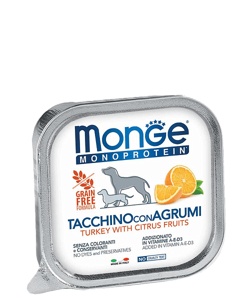 Monge Dog Monoprotein Solo консервы для собак паштет из индейки с цитрусовыми купить в дискаунтере товаров для животных Крокодильчик